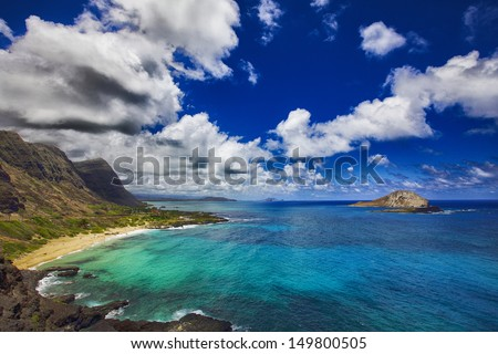 View of Rabbit Island and Makapu'u Beach Park from Makapu'u Point on the Hawaiian island of Oahu - stock photo