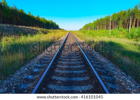 View of railroad track with green forest on both sides - stock photo