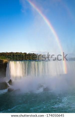 View of rainbow at Niagara Falls Canada - stock photo
