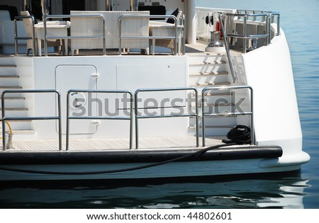 View of rear section of a yacht - stock photo