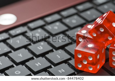 view of red dices to gamble and play online - stock photo