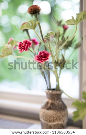 View Red Simple Flowers Vase On Stock Photo Royalty Free