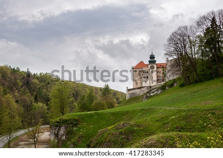 View of renaissance castle in Pieskowa Skala on a cloudy day, Poland