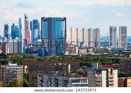 view of residential and business areas in Moscow