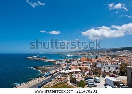 View of Rethymno as seen from Fortezza on Crete, Greece. - stock photo