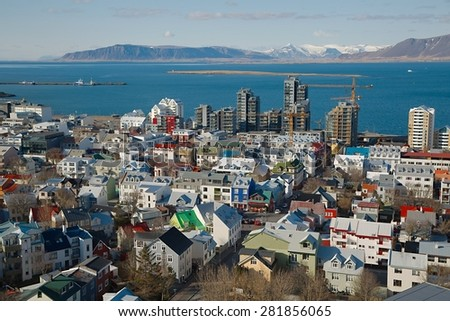 View of Reykjavik, Iceland - stock photo