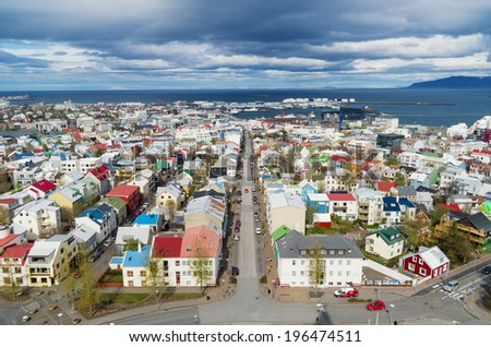 View of Reykjavik, Iceland, from Hallgrimskirkja church - stock photo