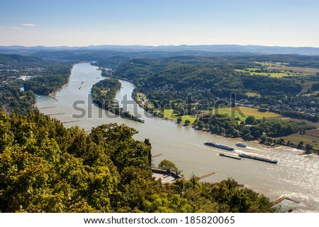 View of Rhine valley from Drachenfels, Germany - stock photo
