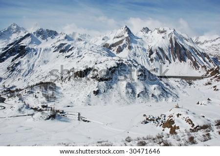 View of Riale village, Formazza Valley, toce, verbania-cusio-ossola, piemonte, italy. Winter - stock photo