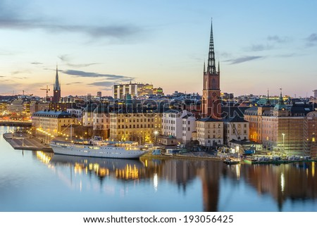 view of Riddarholmen from the Sodermalm island in Stockholm, Sweden - stock photo