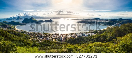 View of Rio de Janeiro and Guanabara Bay from the Cidade Park in Niteroi, Brazil. - stock photo