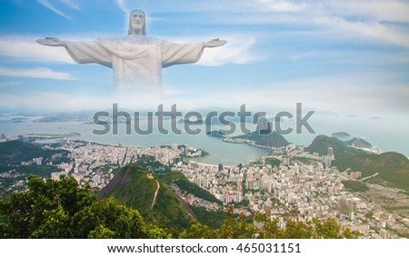 view of rio de janeiro and sugar loaf's landscape, christ on the background