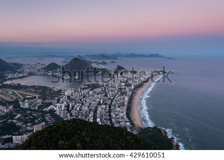 View Of Rio de Janeiro with Ipanema Beach, Hills, Lagoon and Urban Areas by Sunset - stock photo
