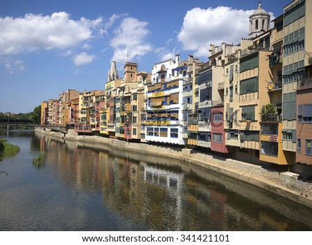 view of river and picturesque houses in Girona. Catalonia - stock photo