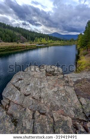 View of river from the boulder near Cataldo, Idaho. - stock photo