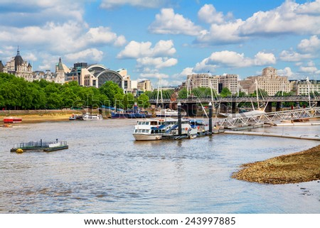 View of River Thames and Hungerford bridge. London, England, UK - stock photo