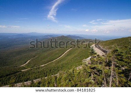 View of roadways below Whiteface Mountain - stock photo