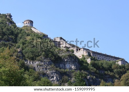 View of Rocca D'Anfo Fort (Lombardia, Idro Lake,  Italy )