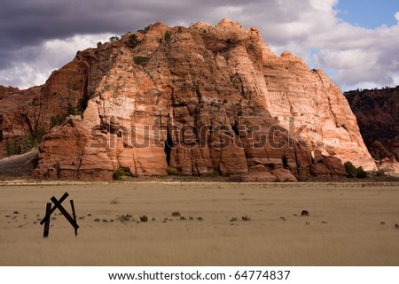 View of rock formation known locally as the 'birthing cave' on the Kolob Terrace. Southern Utah, USA. - stock photo