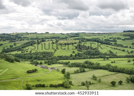 View of rock formations and moorland in the Peak District in Derbyshire, an area of great natural beauty covering 555 square miles across central England