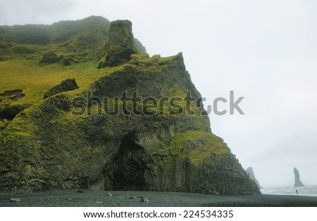 View of rock formations in Reynisfjara beach, Iceland - stock photo