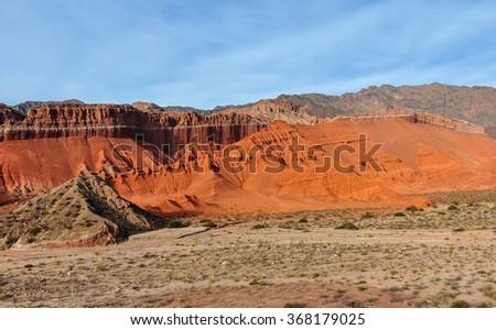 View of rock formations in the Quebrada de las Conchas near Cafayate, Salta Province, Argentina - stock photo