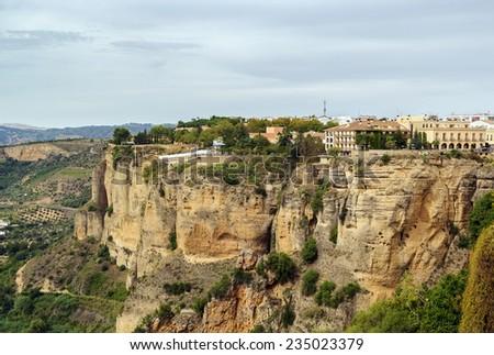 view of rock in Ronda city in Spain - stock photo