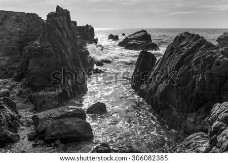 View of rocky coast, Ixtapa, Guerrero, Mexico - stock photo