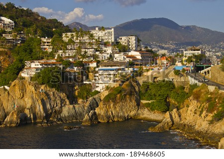 View of rocky coast of Acapulco - stock photo