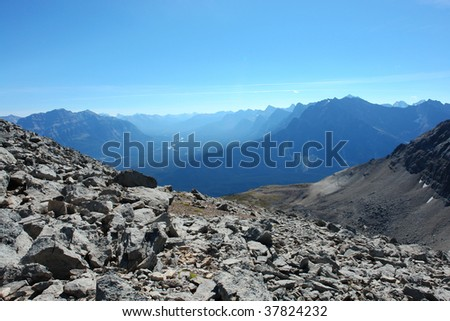 View of rocky mountains from the hiking trail beside mountain edith cavell, jasper national park, alberta, canada - stock photo