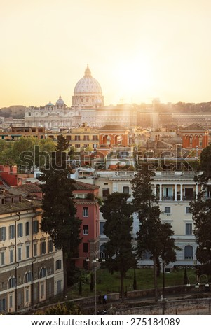 View of Rome during sunset