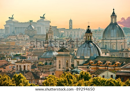 View of  Rome from Castel Sant'Angelo, Italy. - stock photo