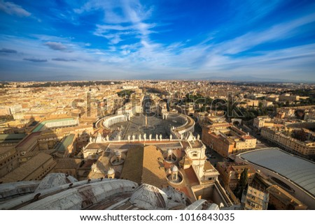 View of Rome from St Peter Basilica at sunset in Vatican City, Rome, Italy