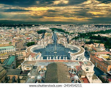 View of Rome from St Peter Basilica at sunset in Vatican City, Rome, Italy - stock photo