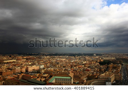 view of Rome from the dome of St Peter's Basilica during a thunderstorm, Rome, Italy - stock photo