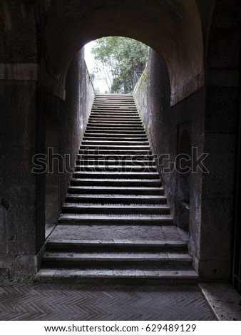 View of Rome, Italy. Low light at Stairs in Palatine.