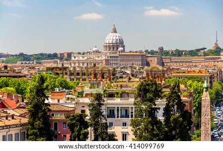 View of Rome with the St. Peter Basilica , Italy - stock photo