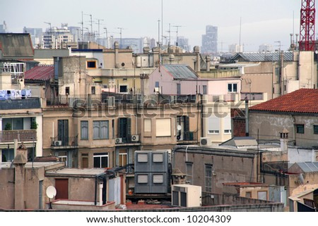 View of roofs in Barcelona, city line, apartments. Concepts: full, crowded, city life, space. - stock photo