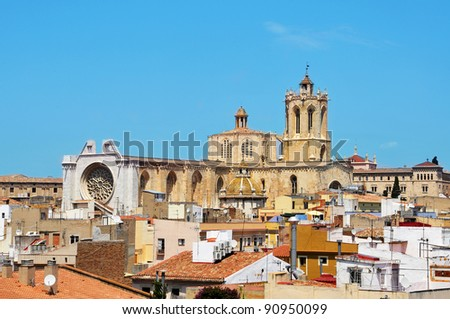 view of roofs of old town and Cathedral of Tarragona, Spain - stock photo