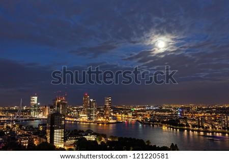 View of Rotterdam from height of bird's flight at night - stock photo