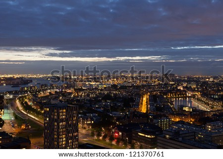 View of Rotterdam from height of bird's flight at night - stock photo