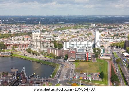 View of Rotterdam from height of bird's flight, Holland - stock photo