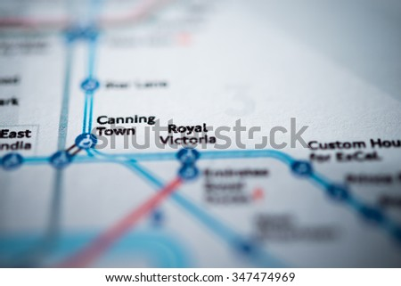 View of Royal Victoria station on a London underground map. (vignette) - stock photo