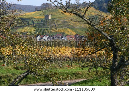 View of ruin surrounded by vineyards on a hillside in Stetten, Kernen, Germany - stock photo