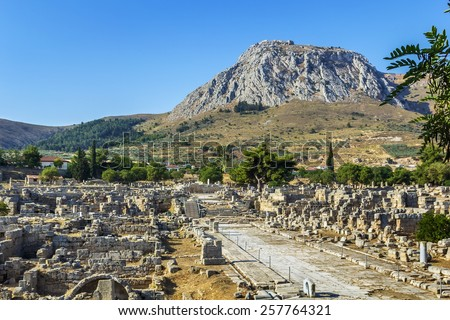 view of ruins of Ancient Corinth in Greece - stock photo