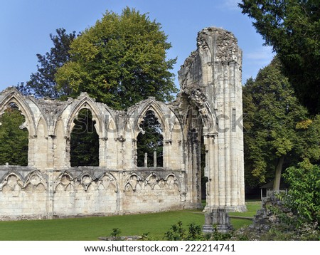 View of ruins on St Marys Abbey. Museum Gardens, York, North Yorkshire, UK. - stock photo