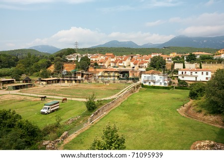 View of rural architecture and homestead near Girona. Catalonia. Spain - stock photo