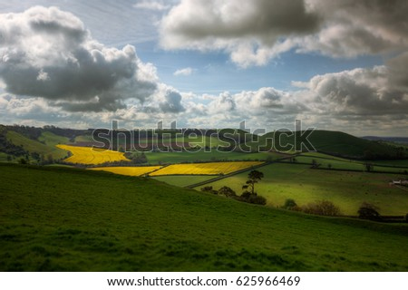 View of Rural Landscape from the Top of Cadbury Castle in Somerset, England, UK