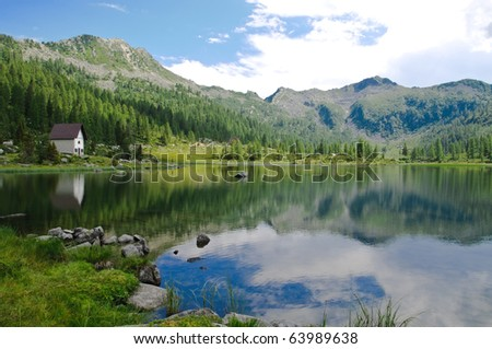 View of S. Giuliano lake in the Italian Alps - stock photo