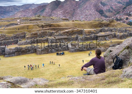 View of Sacsayhuaman ruins and Cusco city, Cusco, Peru - stock photo